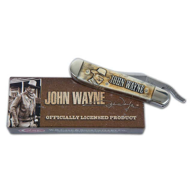 John Wayne Smooth Natural Bone Laser Engraved RussLock Knife