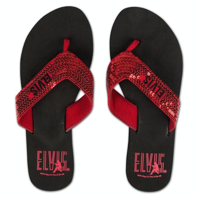 Elvis Presley Silhouette Red Sequin Flip Flops