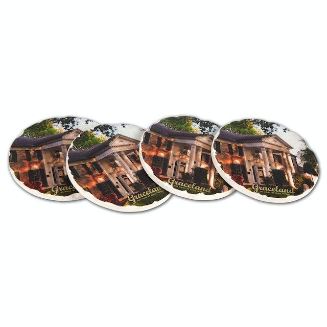 Elvis Presley Graceland Round Tile Coaster Set (4)