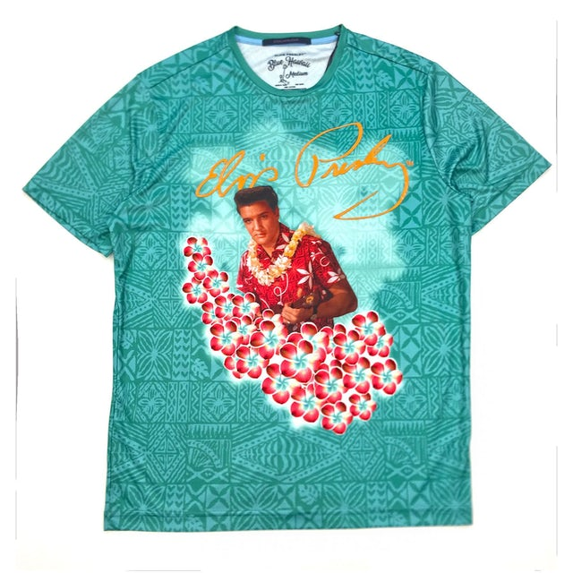 Hawaiian Pattern Aqua Elvis Presley in Flowers T-Shirt