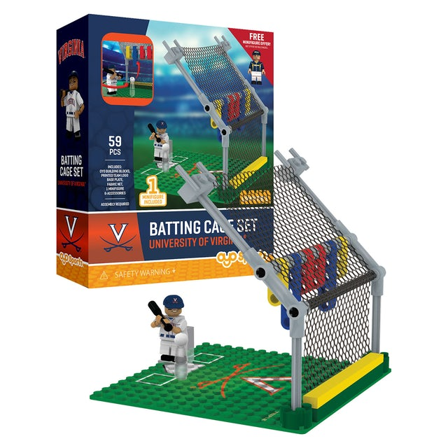 UVA Athletics University of Virginia Batting Cage + Minifigure Set