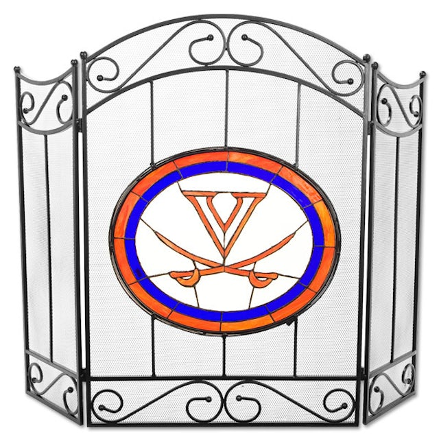 UVA Athletics Stained Glass Fireplace Screen