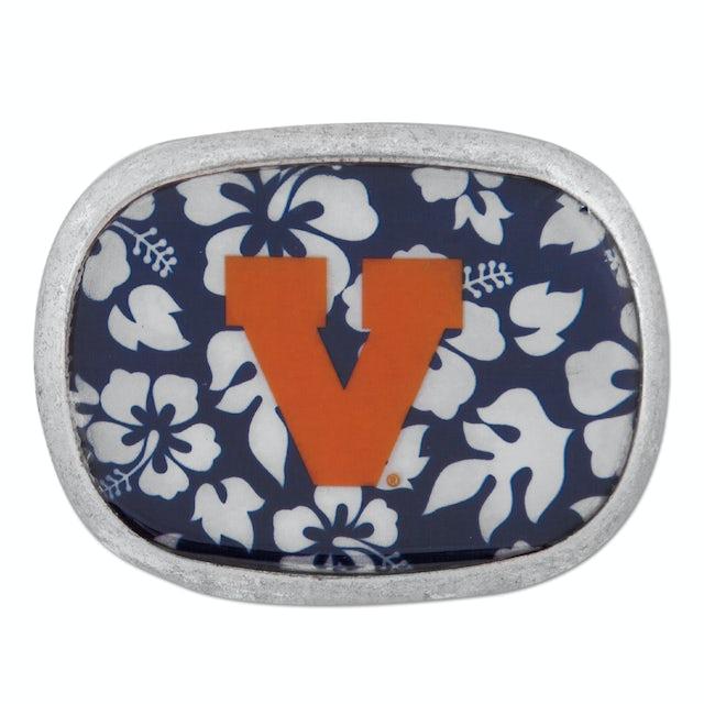 UVA Athletics Leather Retro Hibiscus Belt Buckle