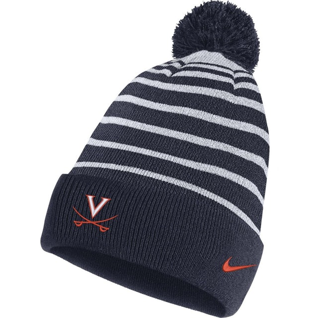 UVA Athletics University of Virginia Striped Detachable Pom Beanie