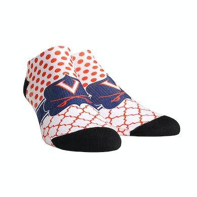 UVA Athletics University of Virginia Cavaliers Quatrefoil Dots Adult Womans Low Cut Socks