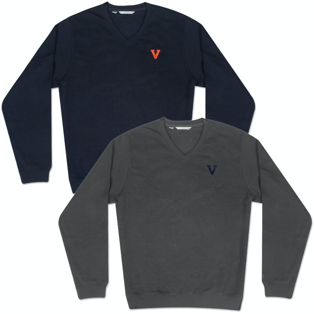 UVA Athletics Classic Logo Journey Supima Flatback V-Neck Sweater