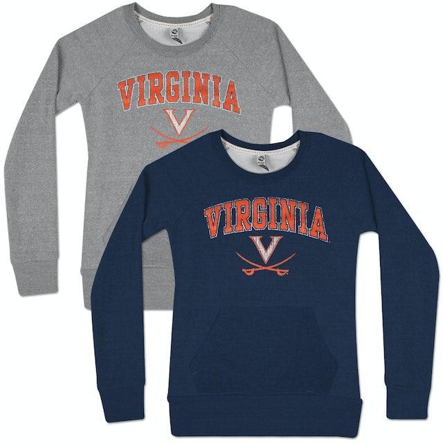 UVA Athletics Mid Distressed Scoop Neck Ladies Fleece Pullover