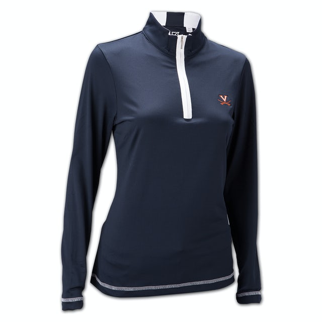 UVA Athletics Cutter & Buck Ladies Drytec Choice Half Zip Mock