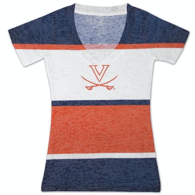 UVA Athletics Four Stripe Burnout V Ladies T-shirt