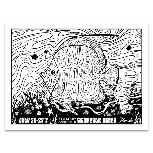 Dave Matthews Band West Palm Beach Coloring Poster