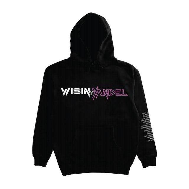Wisin & Yandel COMO ANTES PINK TEXT BLACK TOUR PULLOVER HOOD