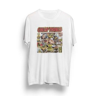 Janis Joplin Natural Cheap Thrills Cartoon T-Shirt