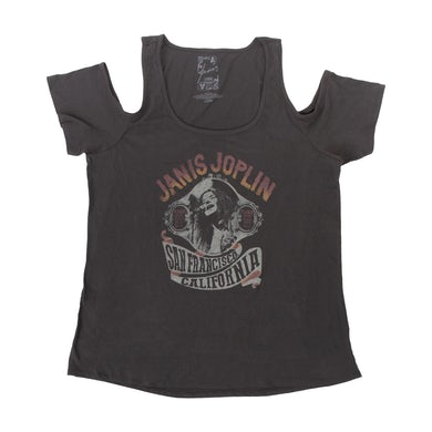 Janis Joplin San Francisco Cold Shoulder JuniorsT-Shirt