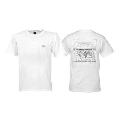 ATEEZ White 'The Expedition Tour' Tshirt - With Cities