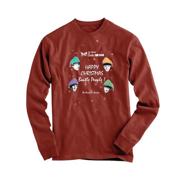 The Beatles Happy Christmas Beatle People Red Longsleeve