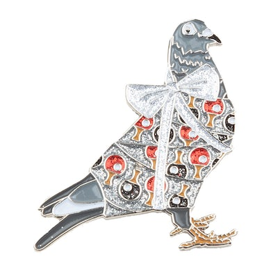 Pigeons Playing Ping Pong Holiday Pigeon Pin V3 Glitter