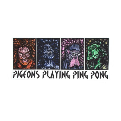 Pigeons Playing Ping Pong Portrait Poster