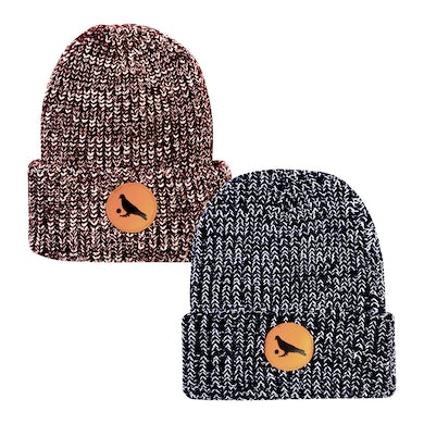 Pigeons Playing Ping Pong Knit Beanie with Leather Pigeon Ball Patch