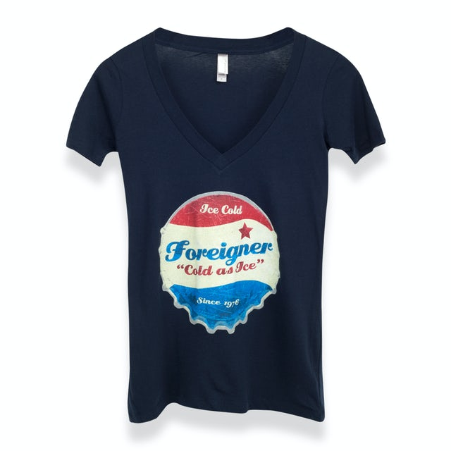 Foreigner Women's Cold As Ice VNeck T-Shirt