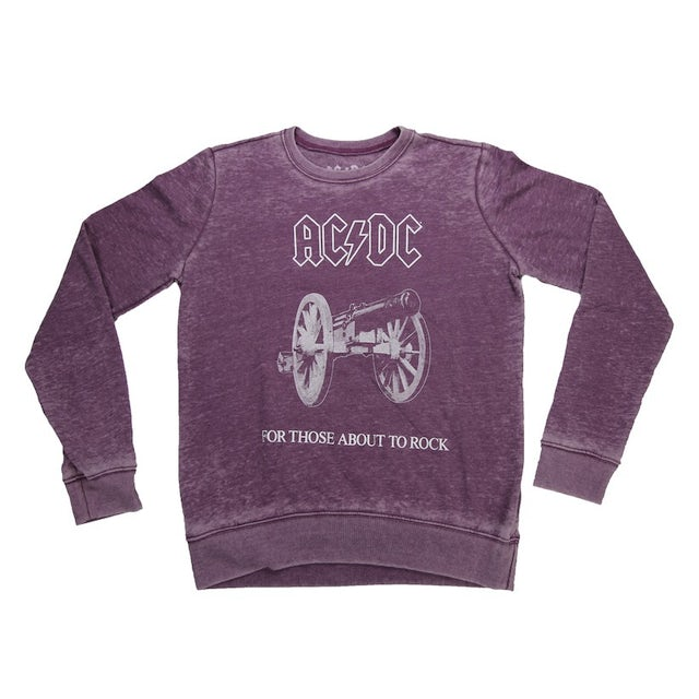 AC/DC Women's Vintage For Those About To Rock Crew Neck Fleece