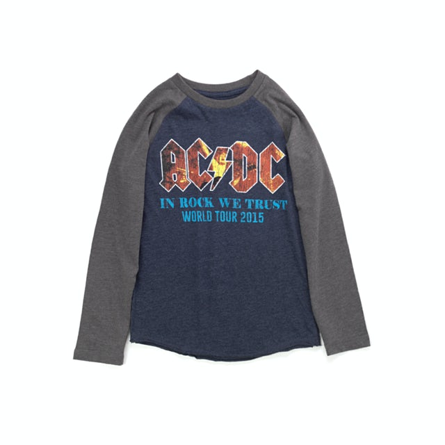 AC/DC In Rock We Trust World Tour 2015 Youth Longsleeve Blue/Grey T-Shirt