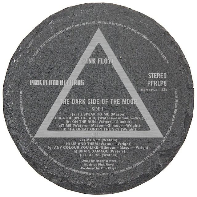 Pink Floyd Dark Side Label Laser Engraved Round Slate Coaster (set of 4)