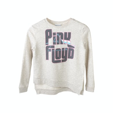 Pink Floyd Juniors Pink Lettering Dark Side Logo Grey Sweater