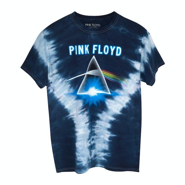 Pink Floyd Dark Side Tie Die Blue T-Shirt