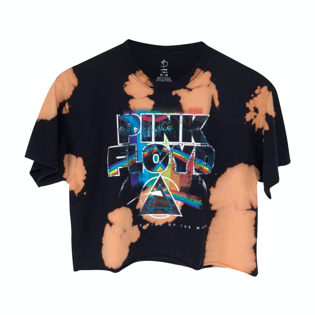 Pink Floyd Rainbow Black Tie Dye Crop Top