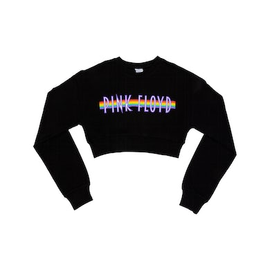 Pink Floyd Rainbow Black Crop Ladies Crewneck
