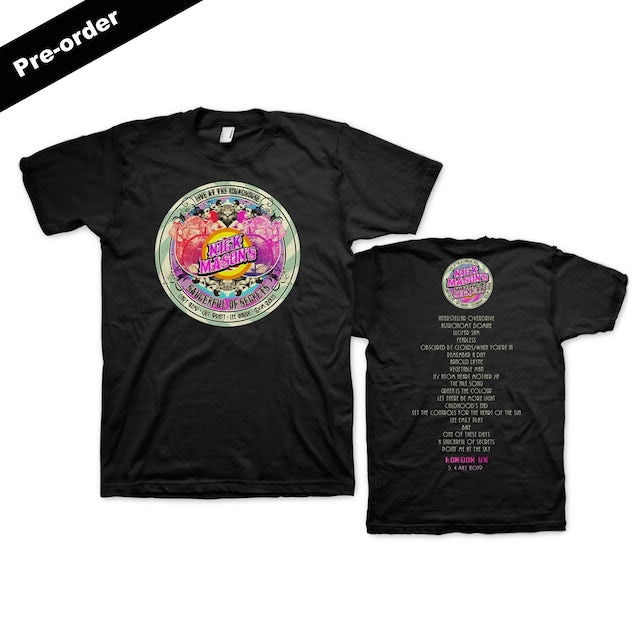 Pink Floyd Nick Mason's Saucerful of Secrets Live At The Roundhouse Set List T-shirt + Round Logo Magnet + Choice of Media Ultimate Bundle