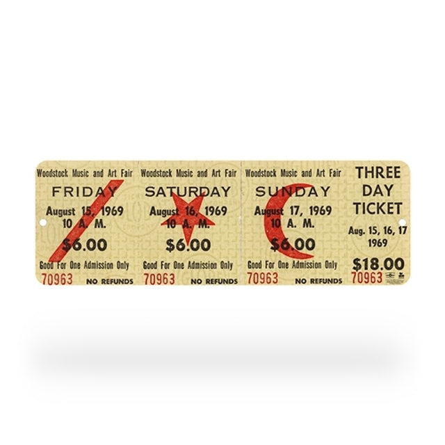 Woodstock Concert Ticket Sign