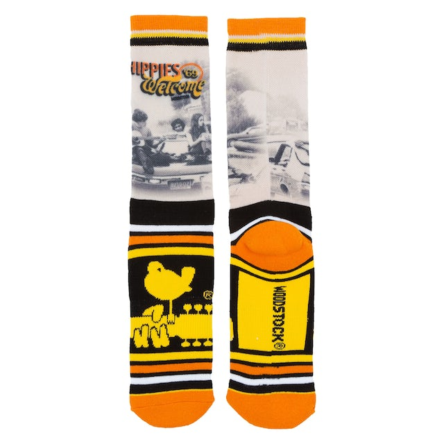 "Woodstock ""Hippies Welcome"" Striped Logo Socks"