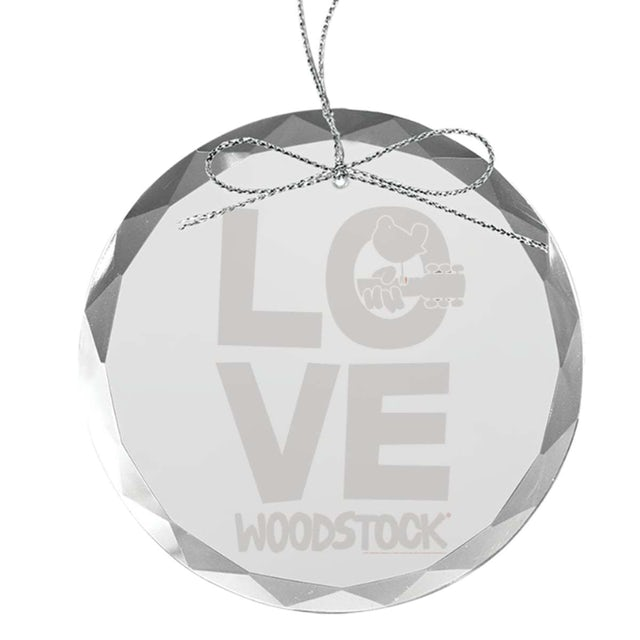 Woodstock Love Round Laser-Etched Glass Ornament