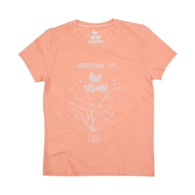 Woodstock Women's Peach 3 Days of Peace and Music T-shirt