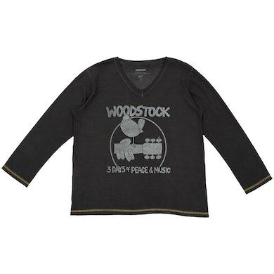 Woodstock 3 Days Black V-Neck T-Shirt