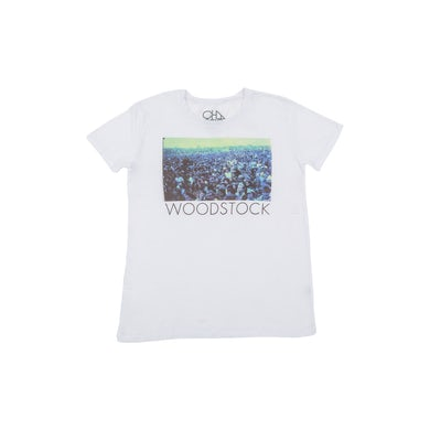 Woodstock Crowd Photo White T-Shirt