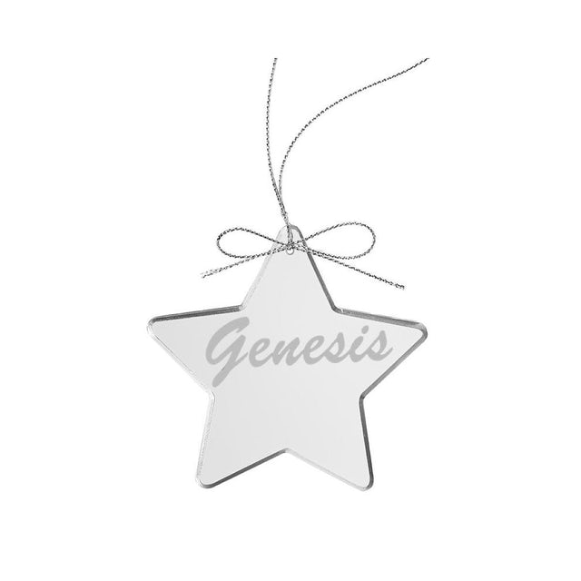 Genesis Circa 80s Logo Star Laser-Etched Glass Ornament