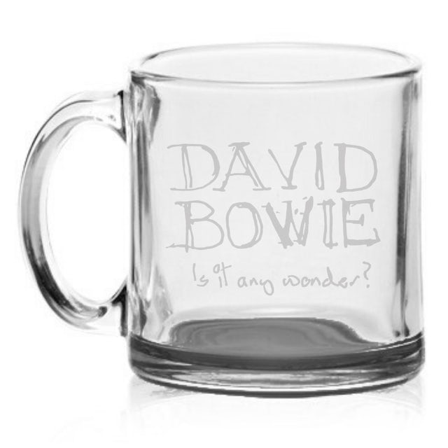 David Bowie Is it any wonder? Etched Glass Mug