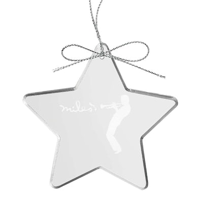 Miles Davis Silhouette Star Laser-Etched Glass Ornament