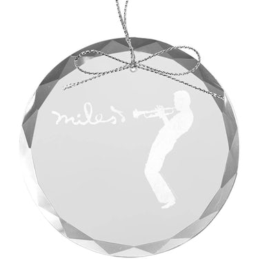 Miles Davis Silhouette Round Laser-Etched Glass Ornament