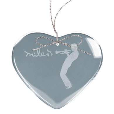 Miles Davis Silhouette Heart Laser-Etched Glass Ornament