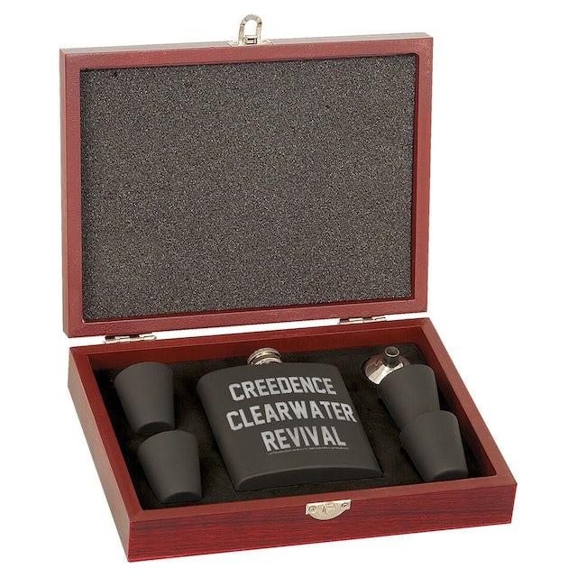 Creedence Clearwater Revival Collegiate Logo Laser Engraved Rosewood Flask Set
