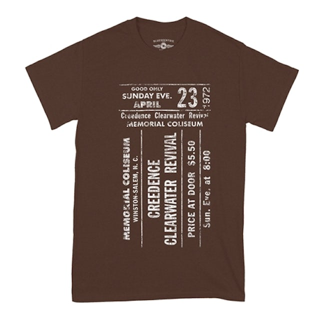 Creedence Clearwater Revival Concert Ticket T-Shirt - Classic Heavy Cotton