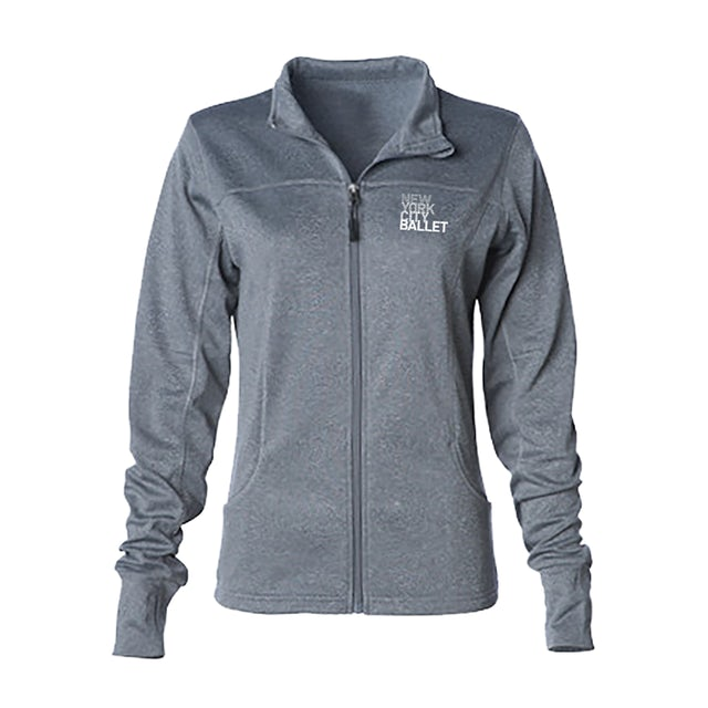 NYC Ballet Womens Grey Logo Zip Up Jacket