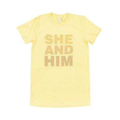 She & Him DOTS WOMENS T-SHIRT SM MI -- YELLOW