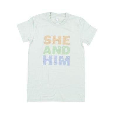 She & Him DOTS WOMENS T-SHIRT SM MI -- MINT GREEN