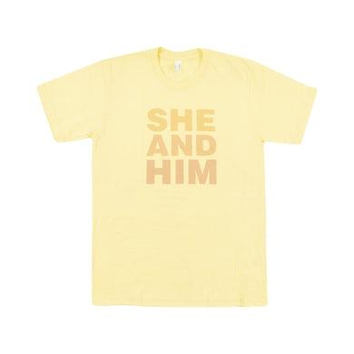 She & Him MENS DOTS T-SHIRT YELLOW