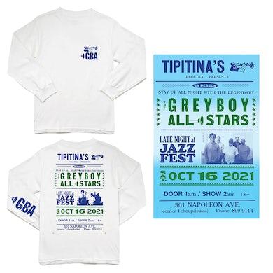 Greyboy Allstars Tipitina's 2021 Long Sleeve T-Shirt/Poster Bundle