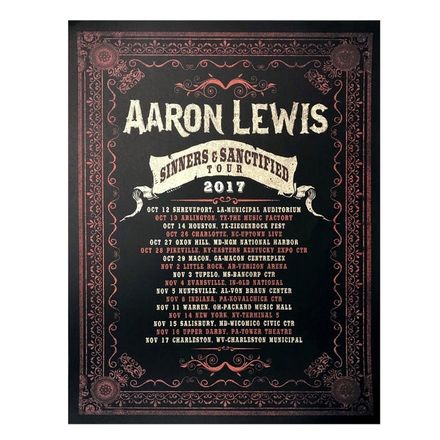 Aaron Lewis 2017 Sinner and Sanctified Tour Poster